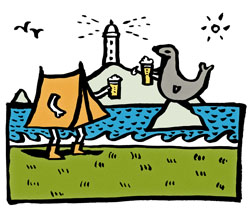 Kildonan seal shore campsite cartoon