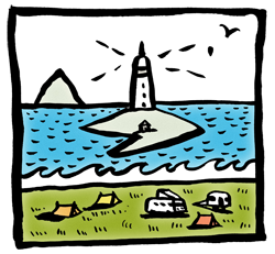 Kildonan Campsite on the Isle of Arran cartoon by Anna Keen