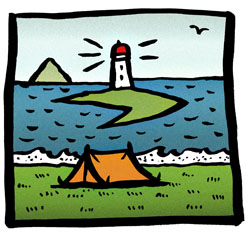 Camping in Kildonan illustraton by Anna Keen